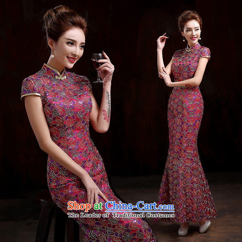 Pure Love bamboo yarn 2015 new better red marriages cheongsam dress long evening dresses evening drink service new lace crowsfoot qipao Sau San Red聽XXL