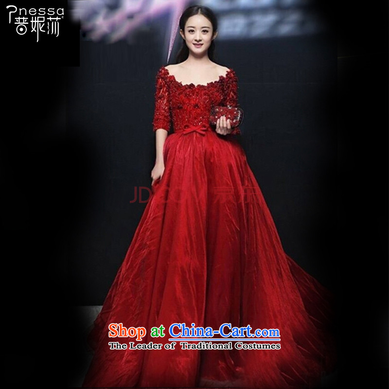 2015 WINTER New Chiu Lai Ying stars of the same wine red dress the word shoulder length, bows to?L