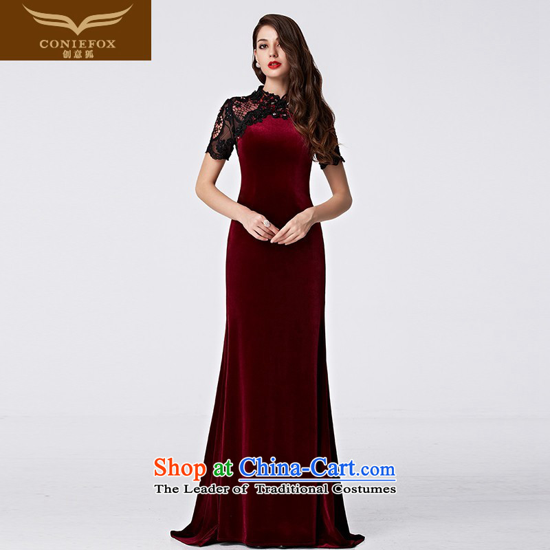 Creative Fox stylish lace bridal dresses evening drink services under the auspices of the annual session will dress banquet long wool tail dress long skirt 31089 black sleeve red?XXL pre-sale