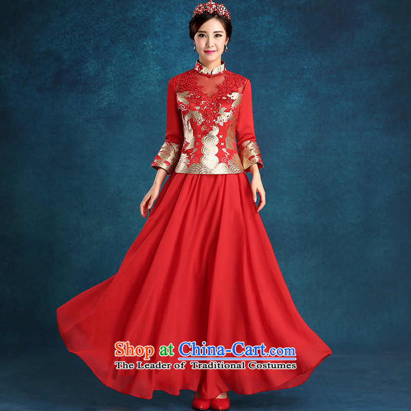Tim hates makeup and 2015 New cheongsam thick marriages bows services wedding dresses bridal dresses bridal dresses winter long-sleeved qipao winter clothing QP002 RED XXL