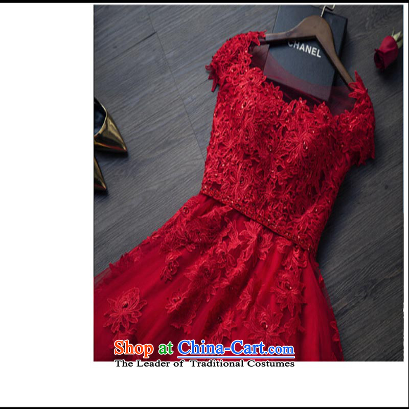 Pure Love bamboo yarn 2015 new bride wedding dress the spring and summer of Sau San red double-shoulder bows service events including evening dress dark red聽L