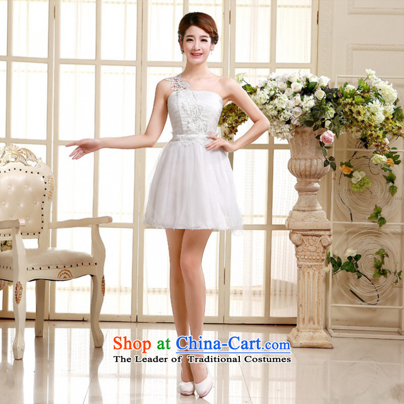 In short poem Coe shoulder evening dresses bridesmaid dress 2015 new autumn and winter bridesmaid Sau San service of the small dining dress code are white
