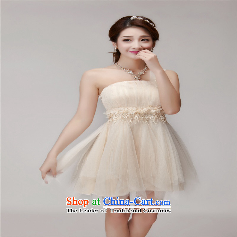 In short poem COE聽 2015  聽New Service bridesmaid bridesmaid mission dress evening dresses and sisters skirts banquet in a small dress summer short apricot聽L