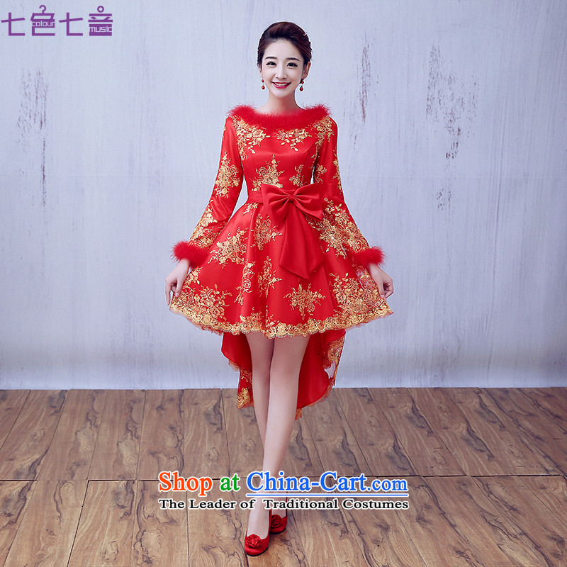 7 7 color tone�2015 new autumn and winter short, long-sleeved plus small cotton dress bride wedding dress red bows�L064 SERVING�A RED�S