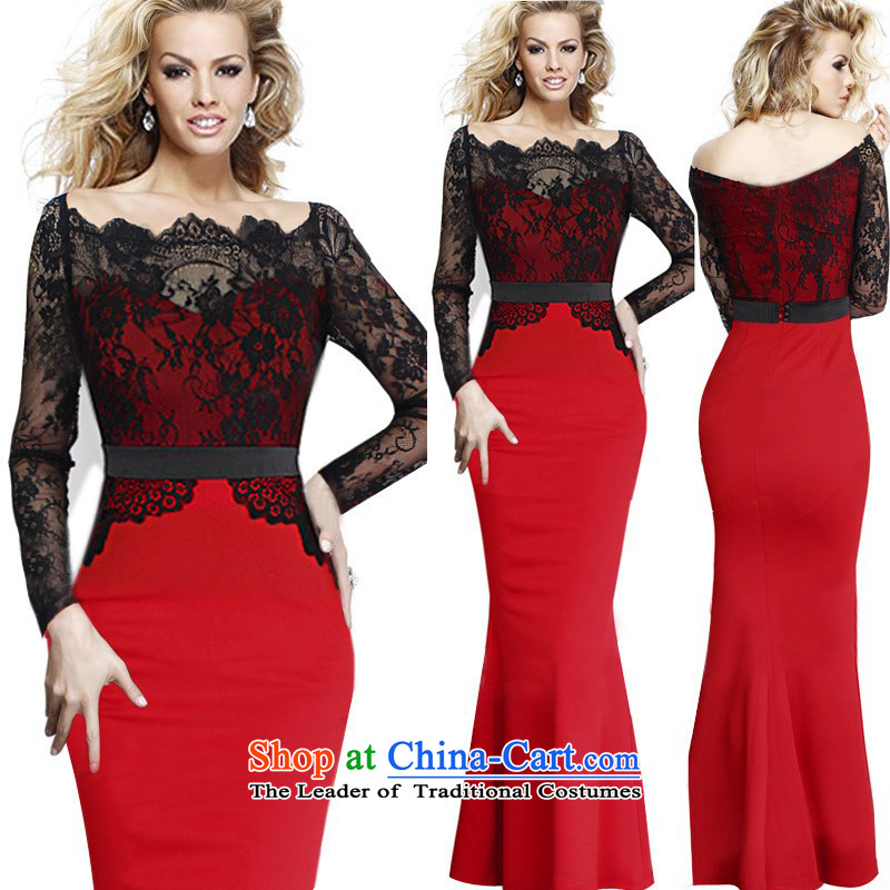 In short poem Coe� �explosion of 2015 lace stitching long-sleeved gown skirt Sau San crowsfoot dresses Large Black + Red�2XL