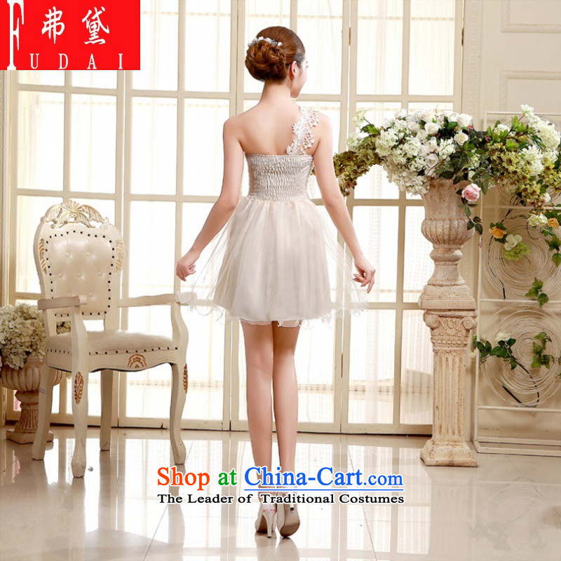 Francis Doi shoulder evening dresses bridesmaid dress 2015 new autumn and winter bridesmaid Sau San service of the small dining dress code are white