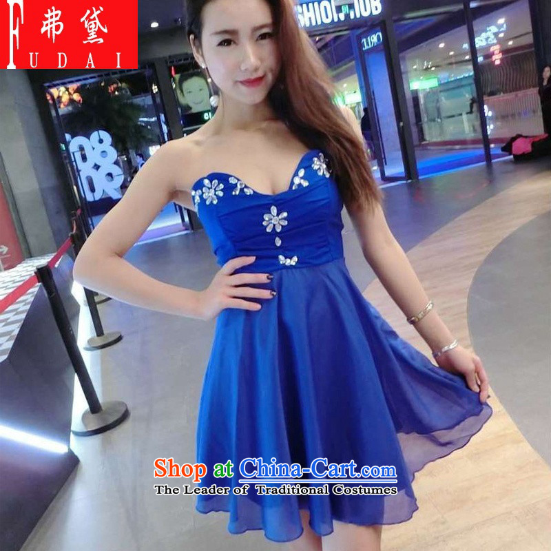 Francis Doi? ?sexy chest anointed 2015 nail-ju, swing dress bridesmaid services will blue dress