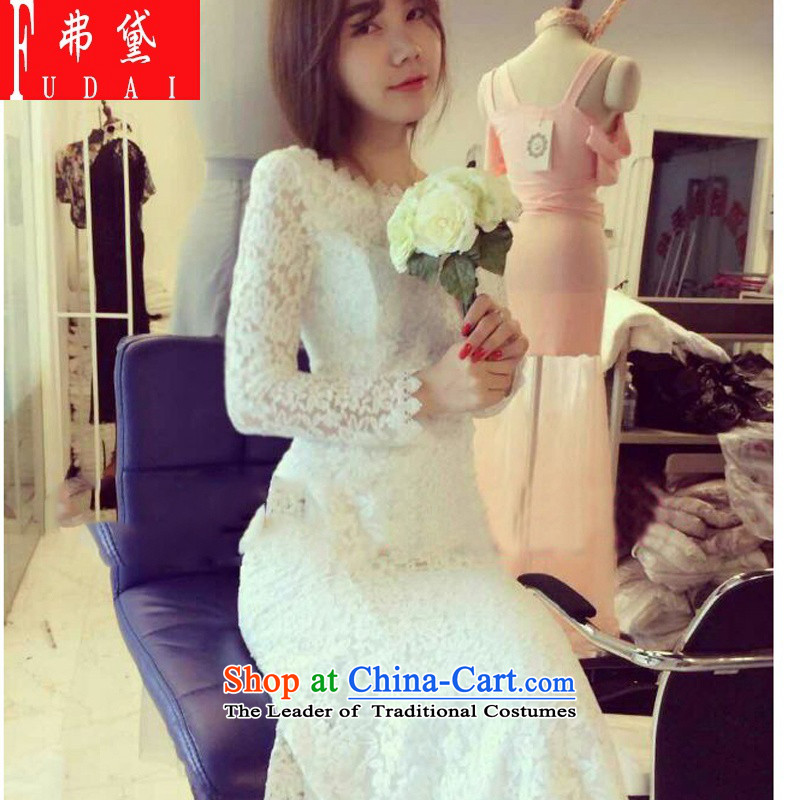 Francis Doi�2015 autumn and winter new dress skirt back white lace package and crowsfoot skirt the skirt long skirt white are code