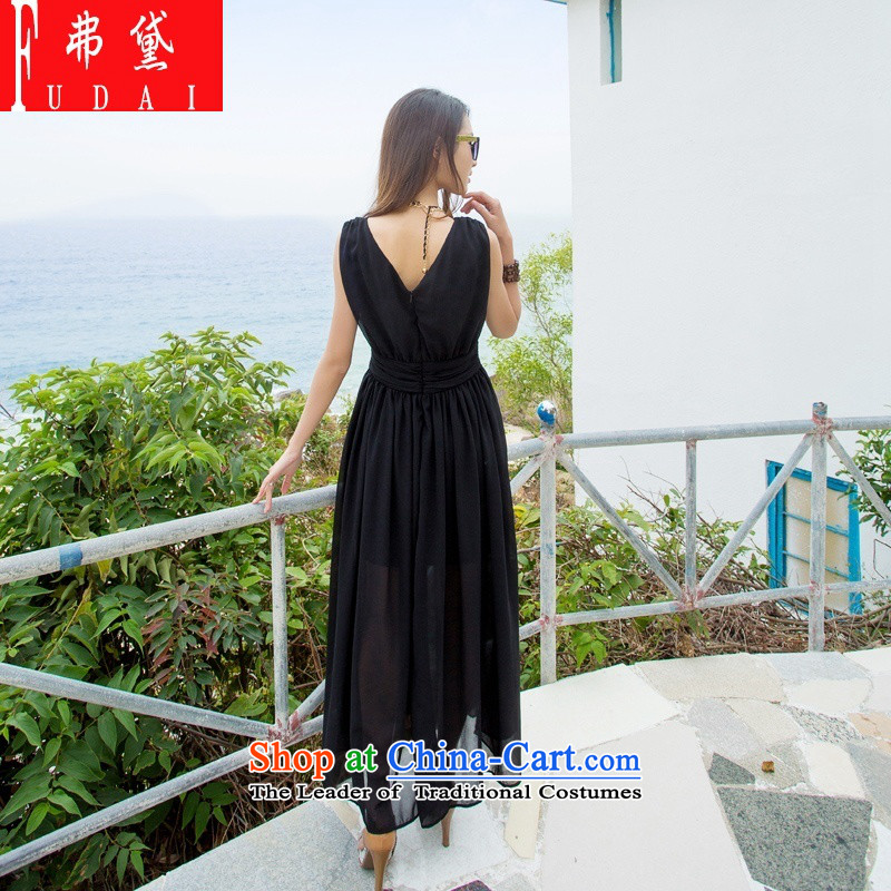 Francis Doi  2015   Three Summer Bohemia long skirt beach skirt solid color v-neck dress skirt evening dress bridesmaid skirt black M