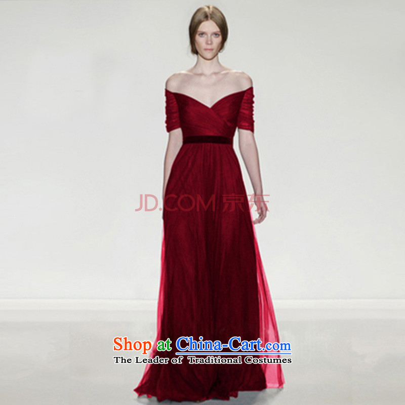 The new 2015 winter navy v-neck evening dress long autumn evening banquet hosted wine red married women serving drink Sau San Red�L