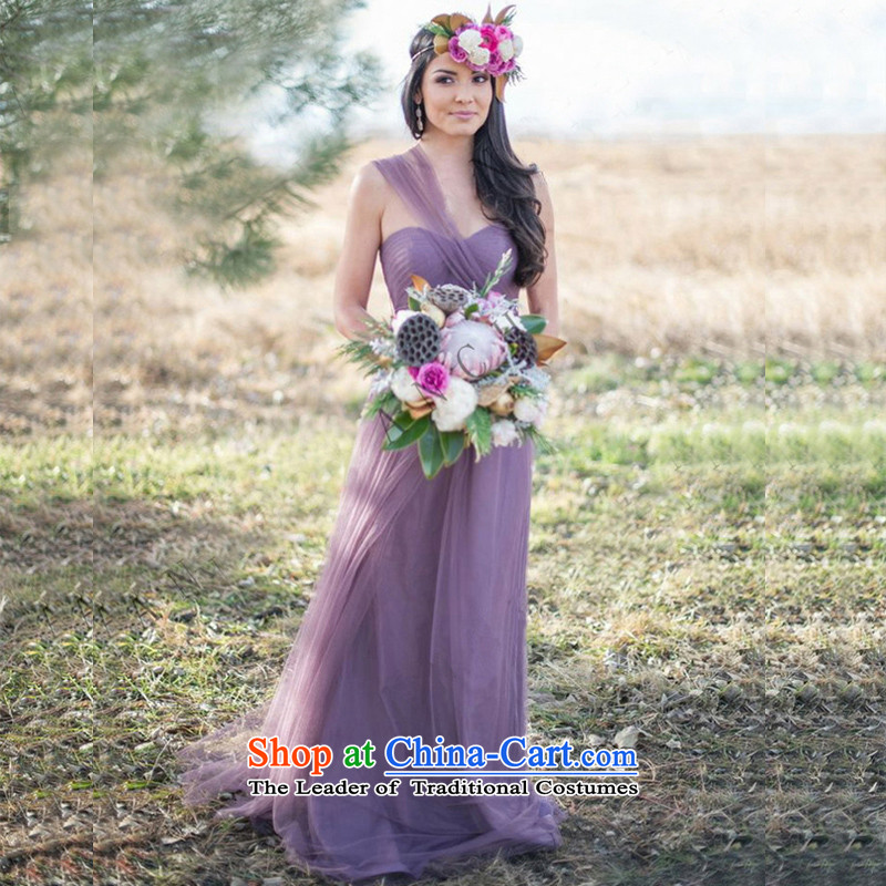 Bridesmaid chief of sister skirt 2015 new winter evening dresses Korean evening dress bridesmaid mission bridesmaid skirt light purple L
