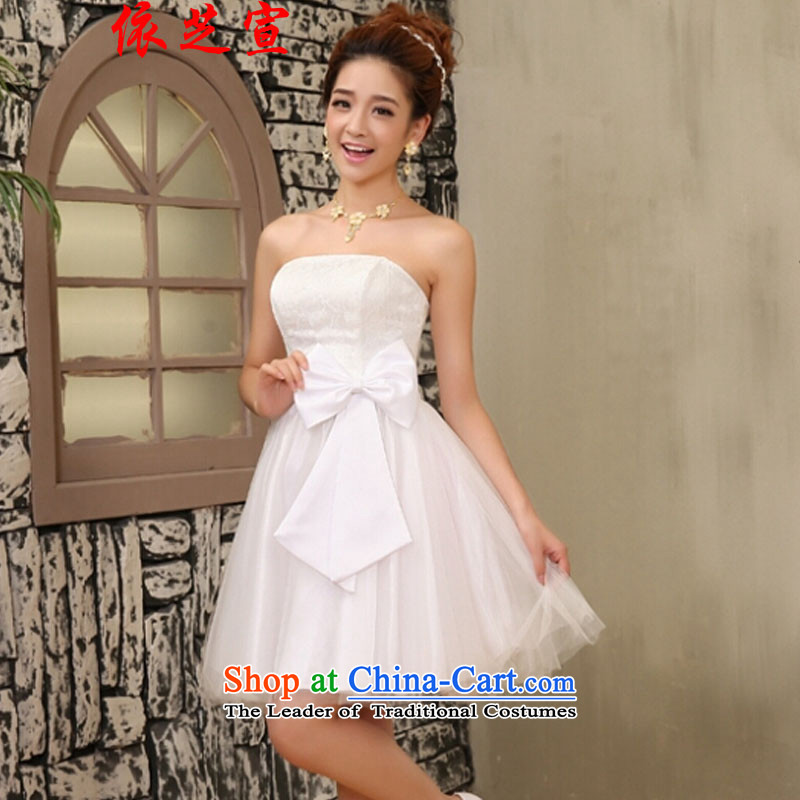 In accordance with the declared chi bridesmaid Dress Short of small sister small dress bride bows to small Sau San dress codes 80-115 per capita burden White