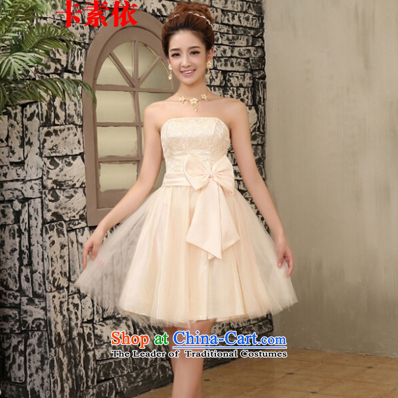 Carlisle-three in accordance with the small bridesmaid Dress Short, sister small dress bride bows to small Sau San dress codes 80-115 champagne color are catty