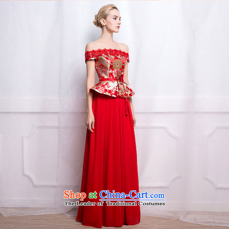 According to Lin Sha 2015 new chinese red color bows Service Bridal long word shoulder Sau San crowsfoot qipao wedding dress female聽XL