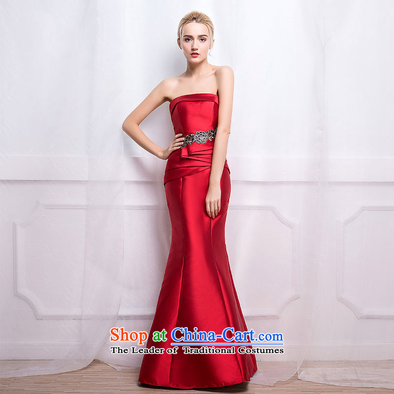 According to Lin Sha 2015 new autumn and winter wedding dress bride crowsfoot red bows service long marriage shoulder long skirt evening dress M