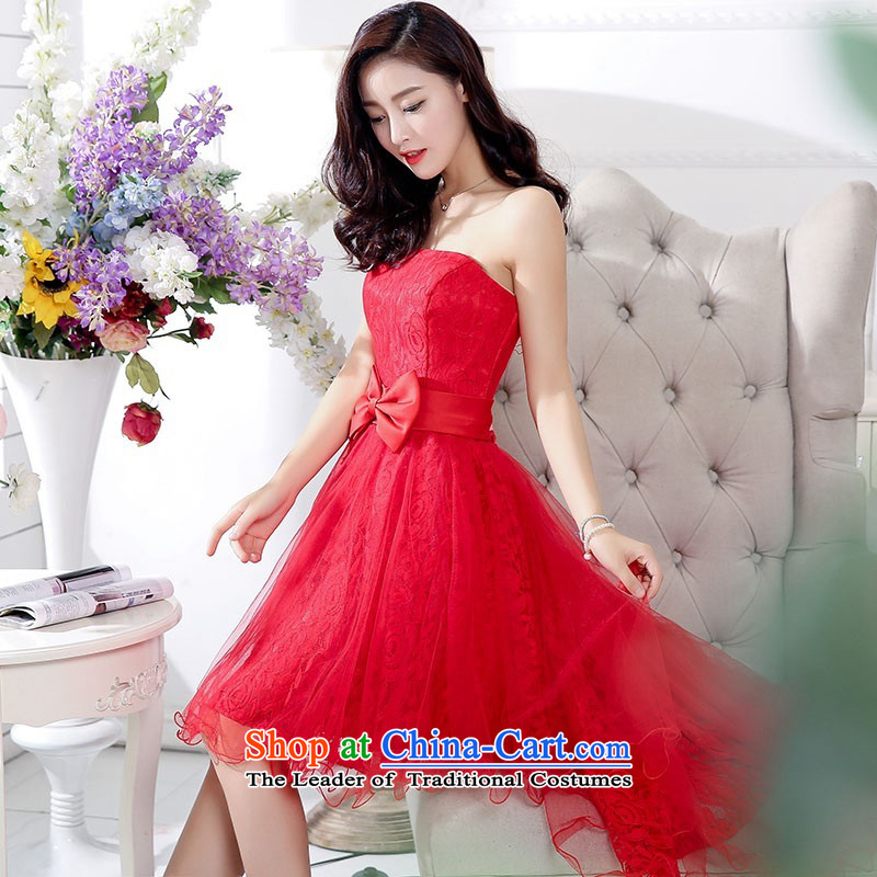 2015 Autumn and Winter, stylish Sau San Foutune Bow Ties With chest lace dresses Bridal Services evening dresses temperament gentlewoman long skirt as Princess skirt sweet bridesmaid services red聽L
