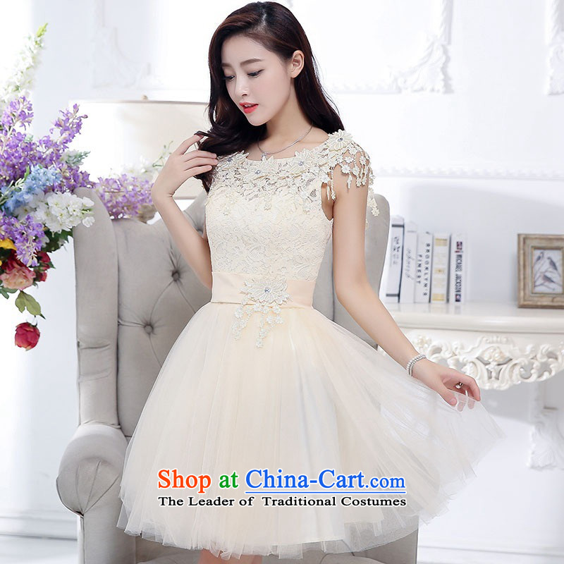 2015 Autumn and Winter, sweet wind in aristocratic long skirt dresses bon bon stylish Transfer round-neck collar princess skirt rabbit hair shawl two kits gauze dresses evening dresses rice white M