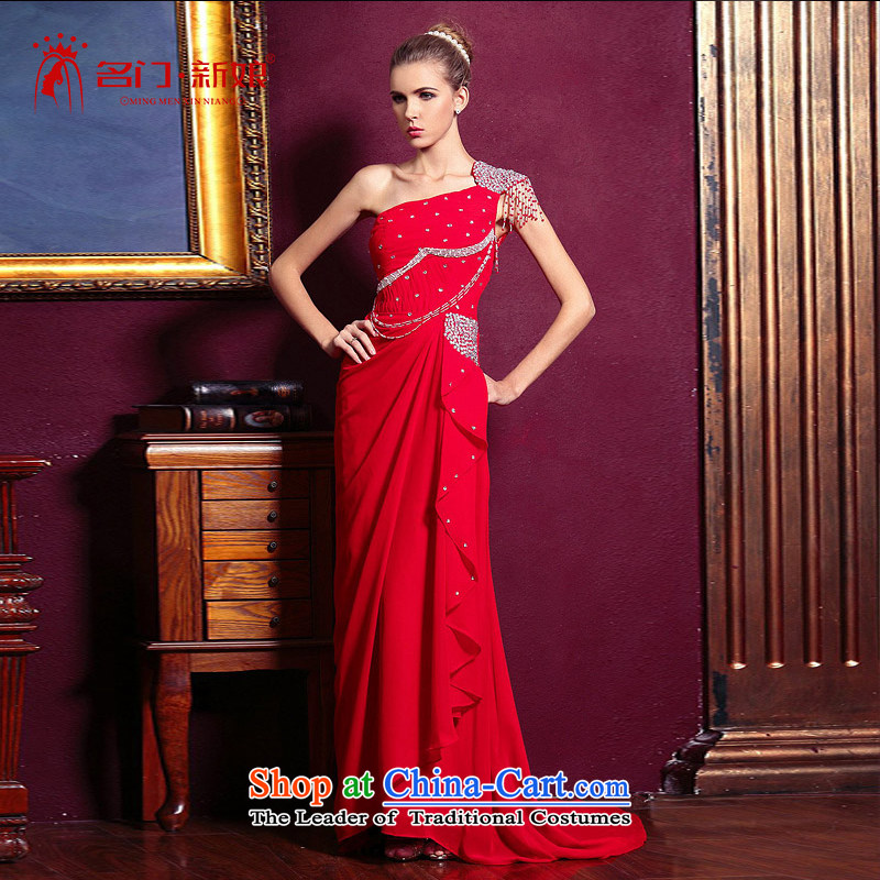 A bride small trailing long marriage bows evening dresses shoulder straps 681 M dress