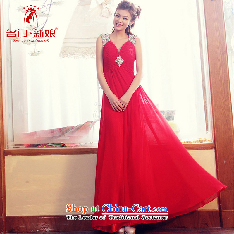 A bride straps deep V-Neck dress long red dress marriage bows dress 823 S