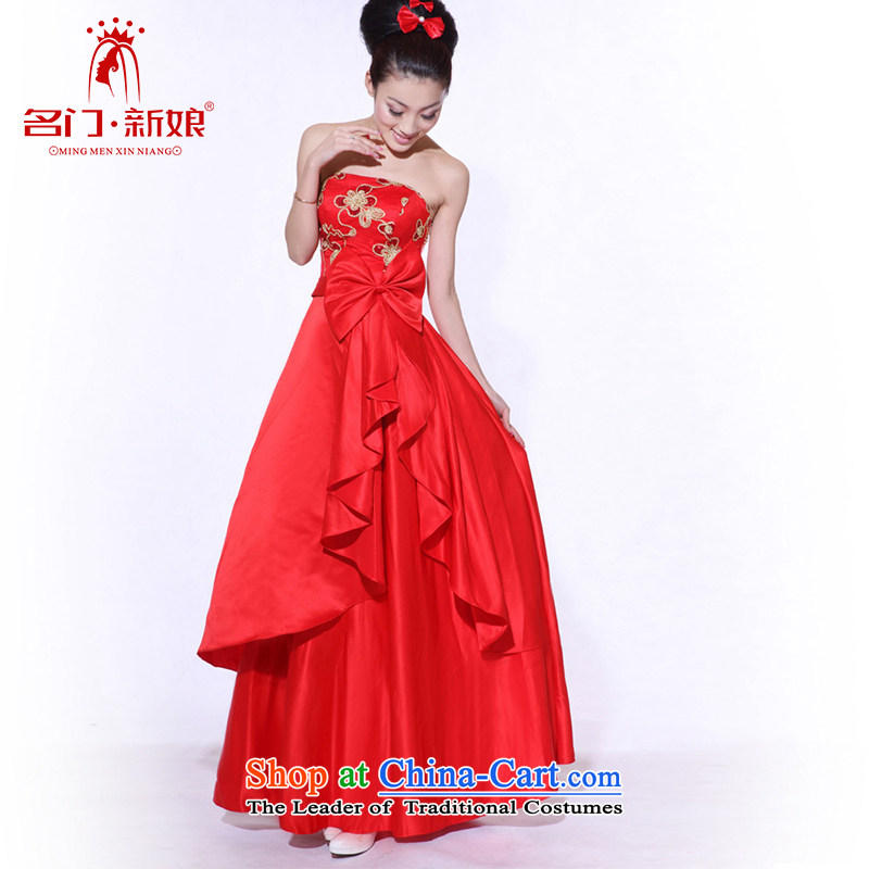 The two men marriages bows dress red dress wiping the chest to align the long gown 683 M