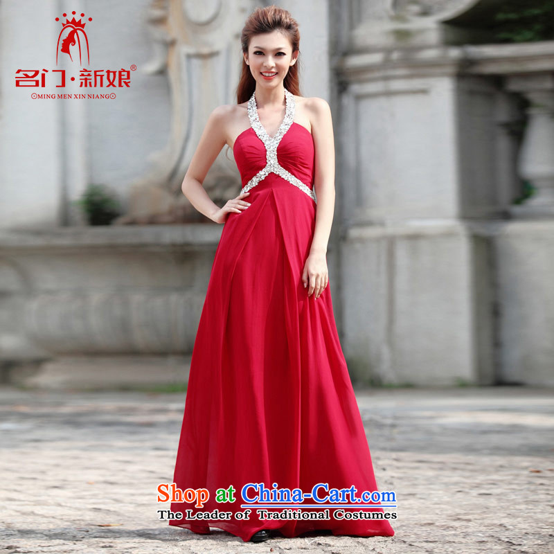 A bride wedding dresses straps deep V-Neck dress long red dress marriage bows dress 279 M