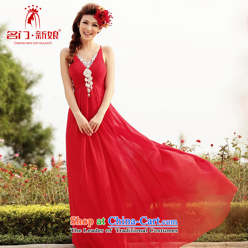 A bride wedding dresses long red bows services will wedding dress evening dress 276 L
