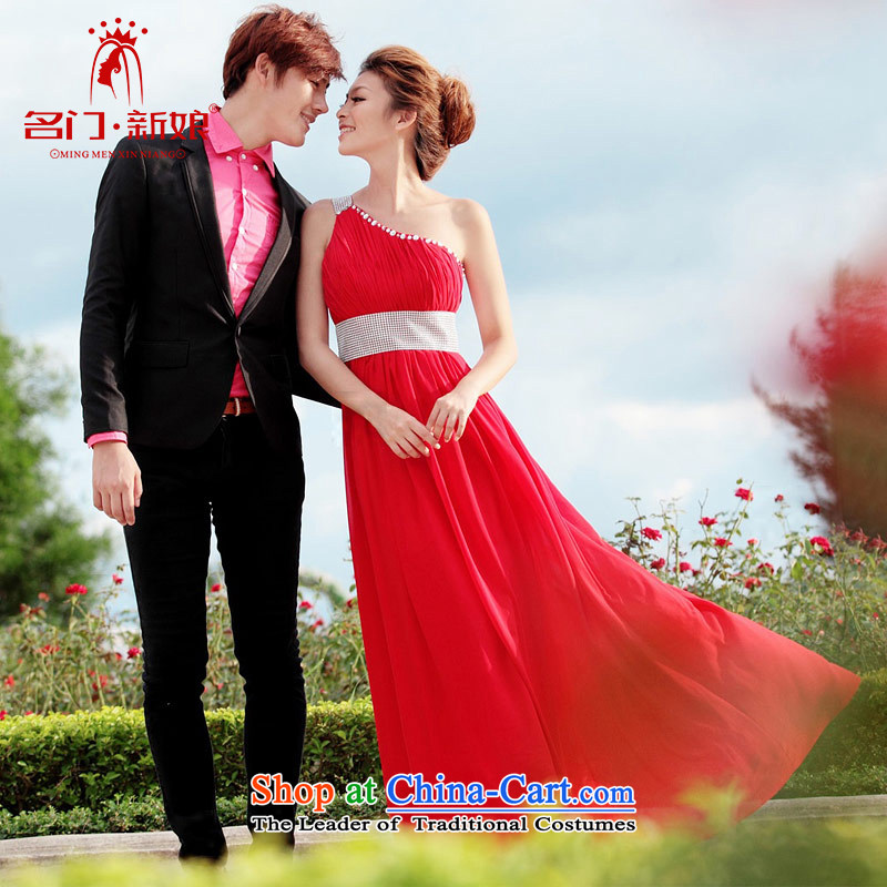 A bride wedding dresses red long gown Korean dinner dress uniform shoulder bows to 232 M