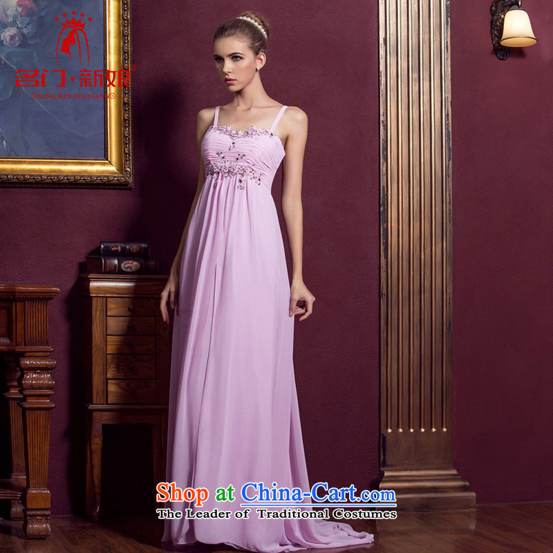 A bride wedding dresses strap elegant evening dresses marriage bows services long banquet dress 886 L