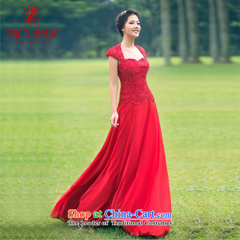 A bride wedding dresses long red dress elegant banquet service services�880 M toasting champagne marriage