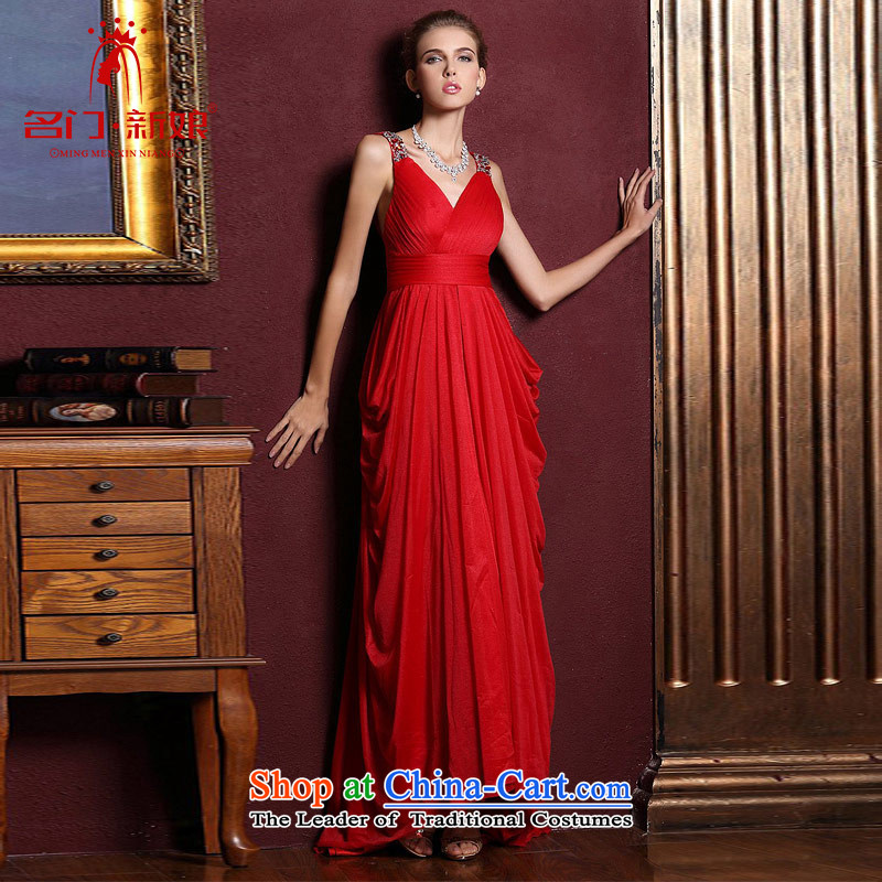 A Bride wedding dresses聽2015 new red married long gown bows evening dresses 285 M