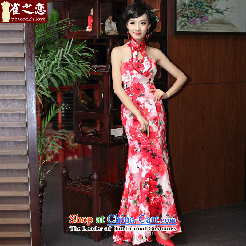 Love of birds Hua Jia�2015 new cheongsam dress dresses and sexy hang also wipe silk dress�QD357 chest M