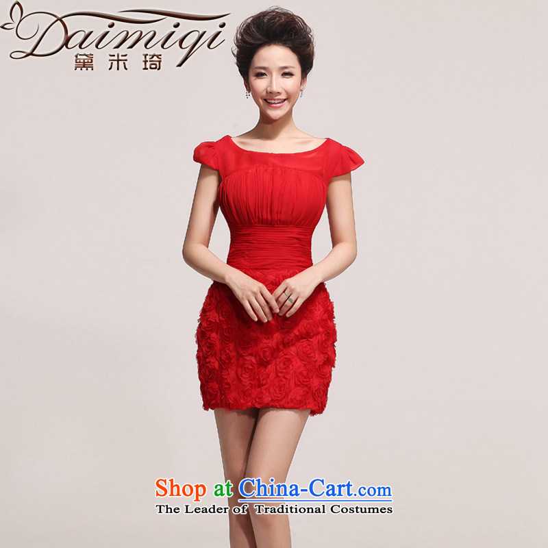 Doi m qi 2014 new small red dress sexy beauty dress bows services will affect photography red XXL
