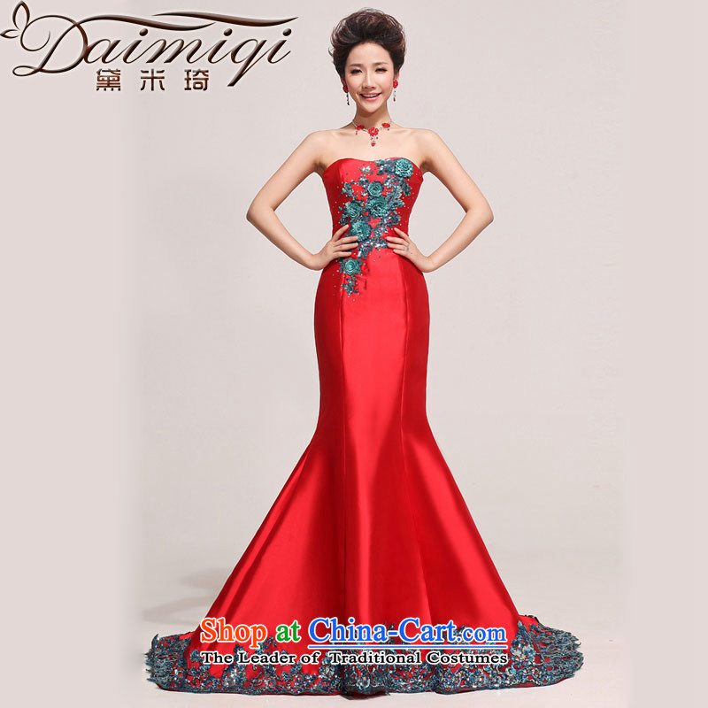 Doi m qi wedding dresses Korean Sau San marriages red new crowsfoot tail evening dresses bows services red?L