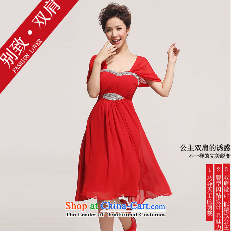 Doi m qi wedding dresses?2014 new marriages bows services) thick MM red short video thin package, Red?M shoulder