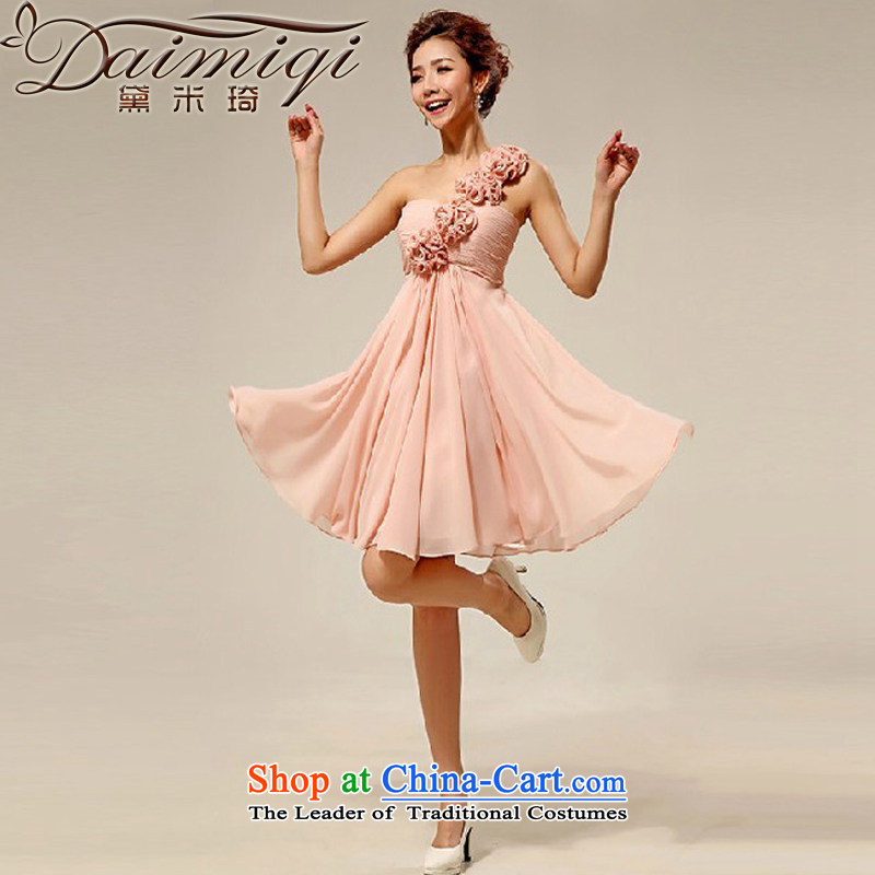 Doi m qi wedding dresses new 2014 Korean shoulder stylish marriages small dress bridesmaid serving meat pink M