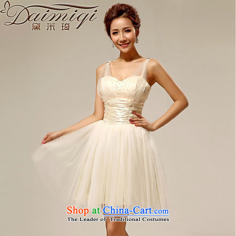 Doi m qi 2014 New 2 shoulder bridesmaid dress lovely bon bon skirt short) Service dress bridesmaid sister skirt champagne color?XL