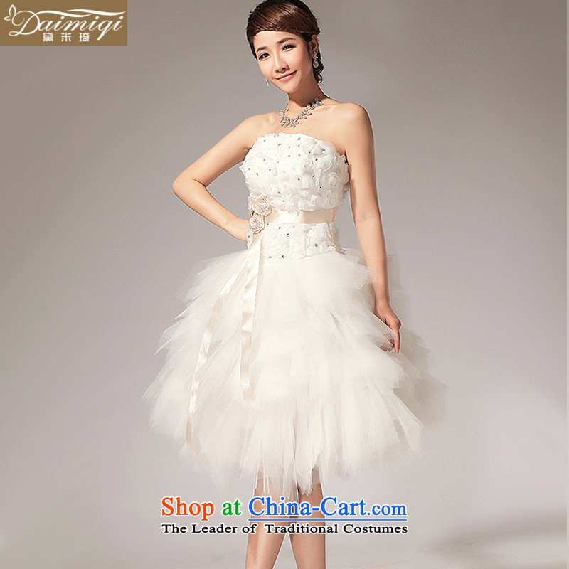 Doi m Qi Wedding 2014 new anointed Chest Flower align sister bridesmaid small dress short skirt white S