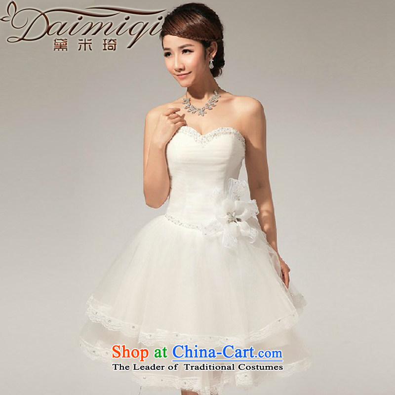 Doi m qi 2013 Korean wedding dresses and chest V-Neck diamond manually lace bon bon small dress skirt White?XXL