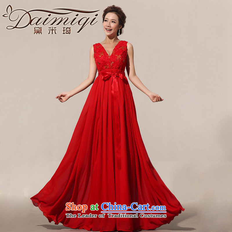 Doi m qi marriage bows dress the new 2014 evening dress strap Top Loin shoulders pregnant woman can custom red XL
