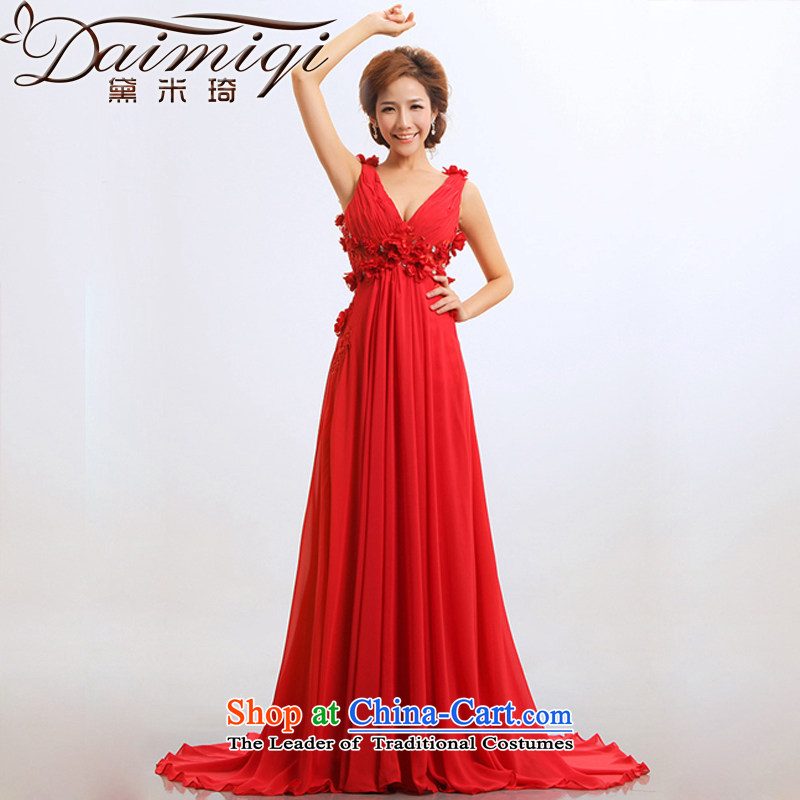 Doi m qi bridal dresses stars bows new marriage 2014 Red hotel is modern long evening dresses long燬