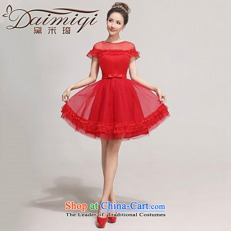 2014 new bride bridesmaid small dress sweet fairy tale wedding gown, Short Princess short of evening shoulders lace bubble cuff bridesmaid services services red XXL toasting champagne