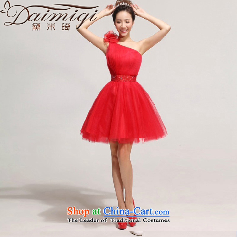 2014 new bride bows services Beveled Shoulder short_ bridesmaid skirt Korean shoulder flowers wedding dresses red XXL