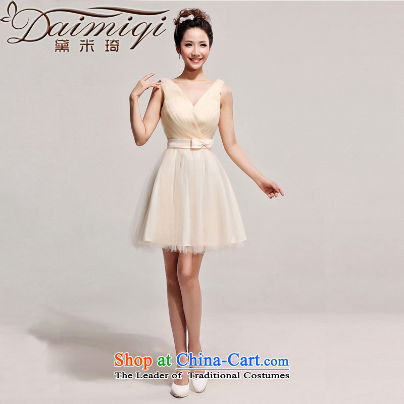 The new 2013 marriage, short skirt Western big red white dress bride dress skirt champagne color�L