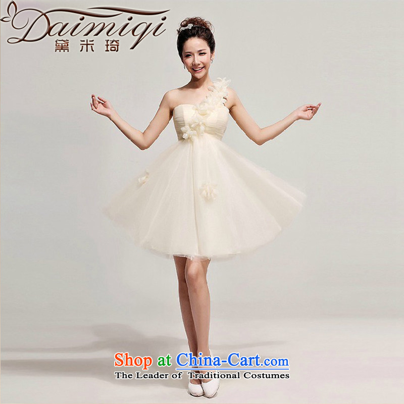 The Korean version of the wedding dresses skirt shoulder small flowers evening bridesmaid dresses, short marriage champagne bows services champagne color?S