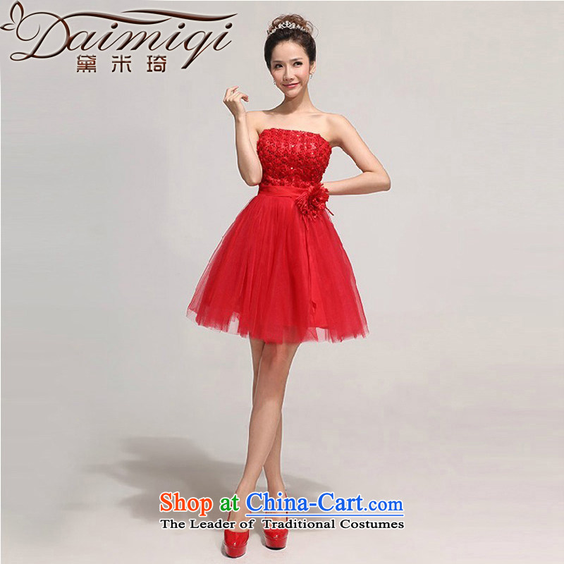 Short of bridesmaid small dress skirt the new bride 2014 wedding dress red bows dress, Sau San?S red