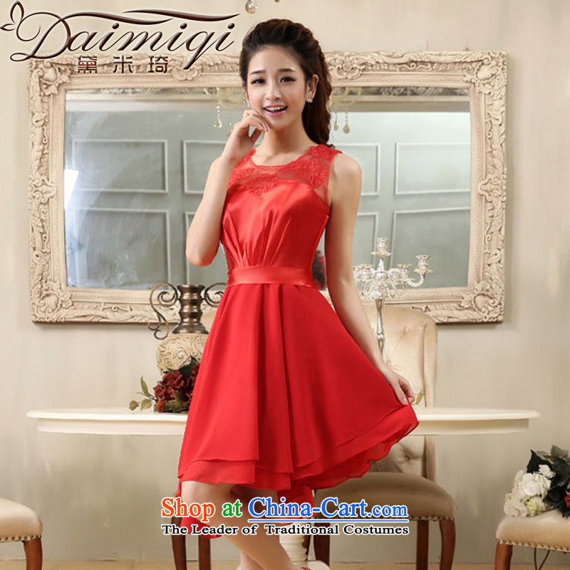 Wedding dress red shoulders small Dress Short of evening dresses lei division population stitching dress skirt dresses bridal services back door service bows RED?M