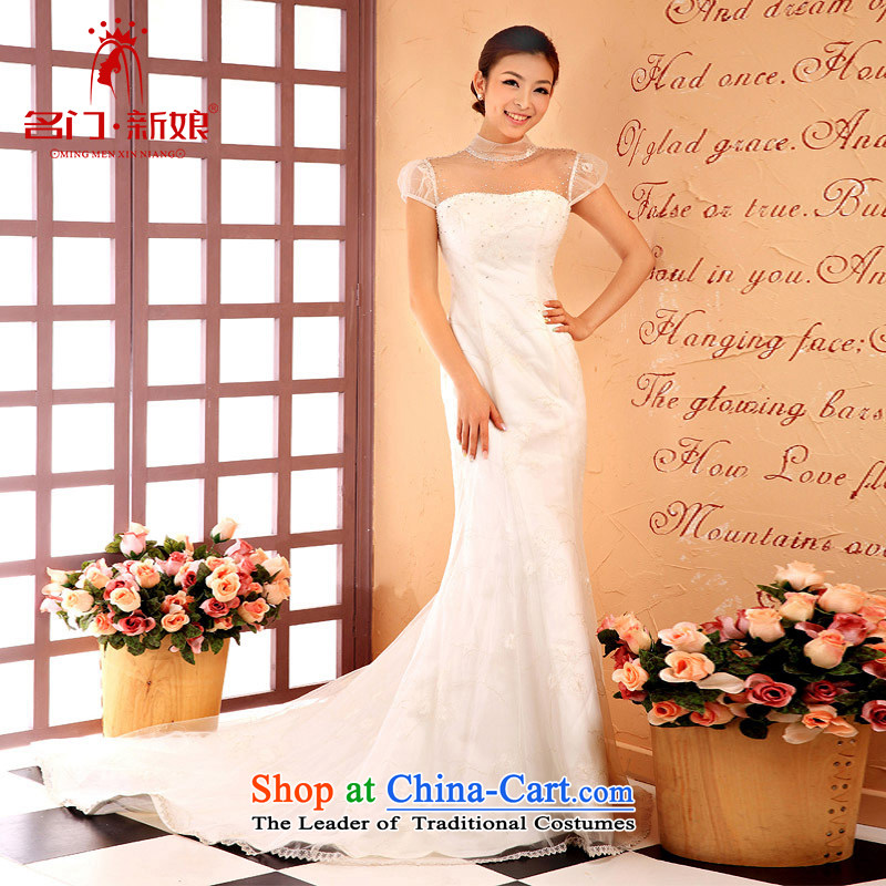 A bride wedding dresses long white bows Services?2015 new wedding dress evening dresses 827 S