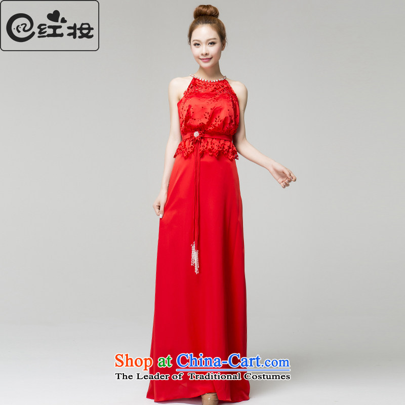 Recalling that the red spring and summer brides-Colombia also dress fell onto the ground red wedding dress bows to Sau San long L13794 RED?M