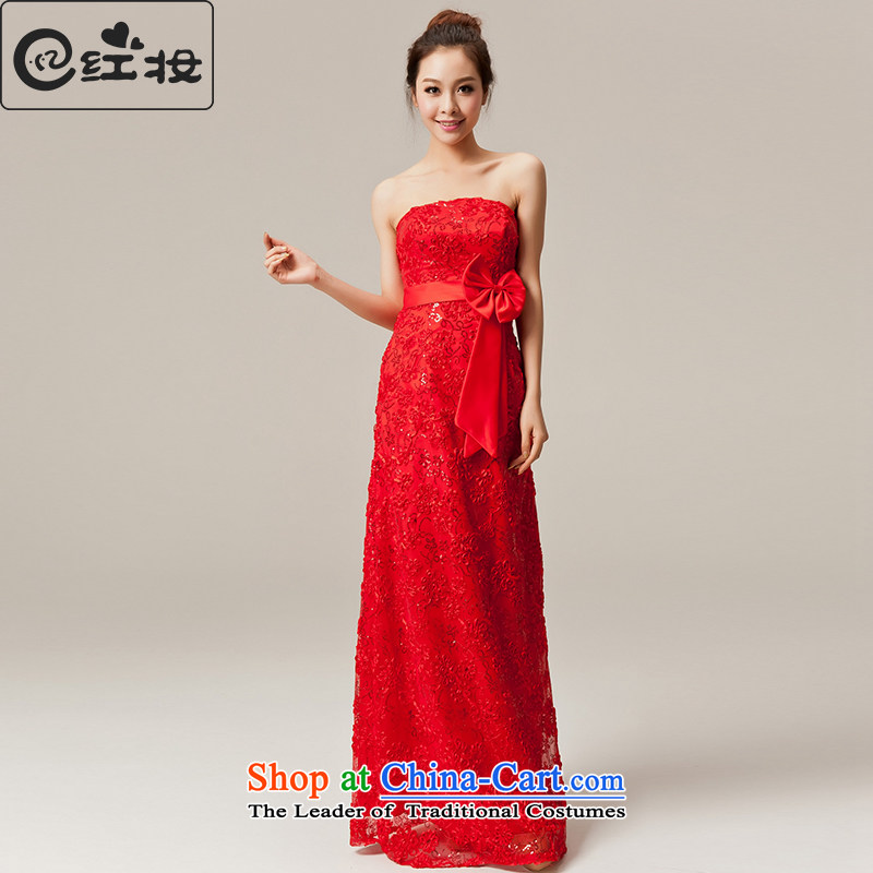 Recalling that Colombia Summer) Bride red wedding dress new red lace Long Chest bows to wipe bridesmaid wedding dress L12050 RED?M
