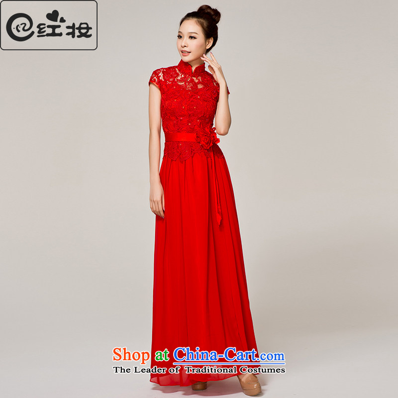 Recalling that hates makeup and Mr Ronald, marriages qipao bridesmaid long wedding dress red lace presided over a drink service evening dresses L12152 RED?S
